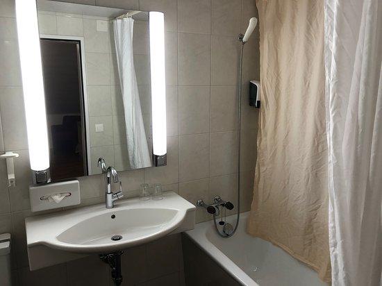 my bathroom with inside shower curtain