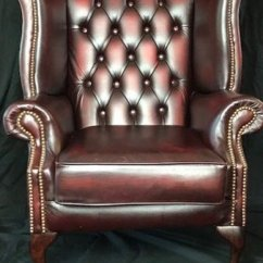 Oxblood Leather Wing Chair Chrome And Chairs With Arms 1 Handmade Chesterfield Style Reproduction Wingback Bargain Garden Antiques Red