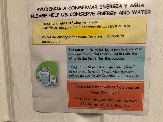 Sign On Bathroom Door Warning Not To Use The Tap Water Even For Brushing Teeth Picture Of Hotel Utz Jay Panajachel Tripadvisor