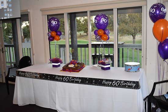 cocktail style set up with cake table