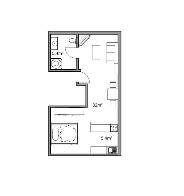Komfortables 1-Zimmer Apartment (42 qm) Has Secure Parking and