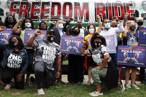 Members of Black Voters Matter and other voting rights activists gather prior to a march in Washington on Aug. 4, 2021.