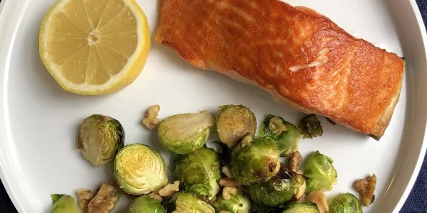 Seared salmon and roasted Brussels sprouts