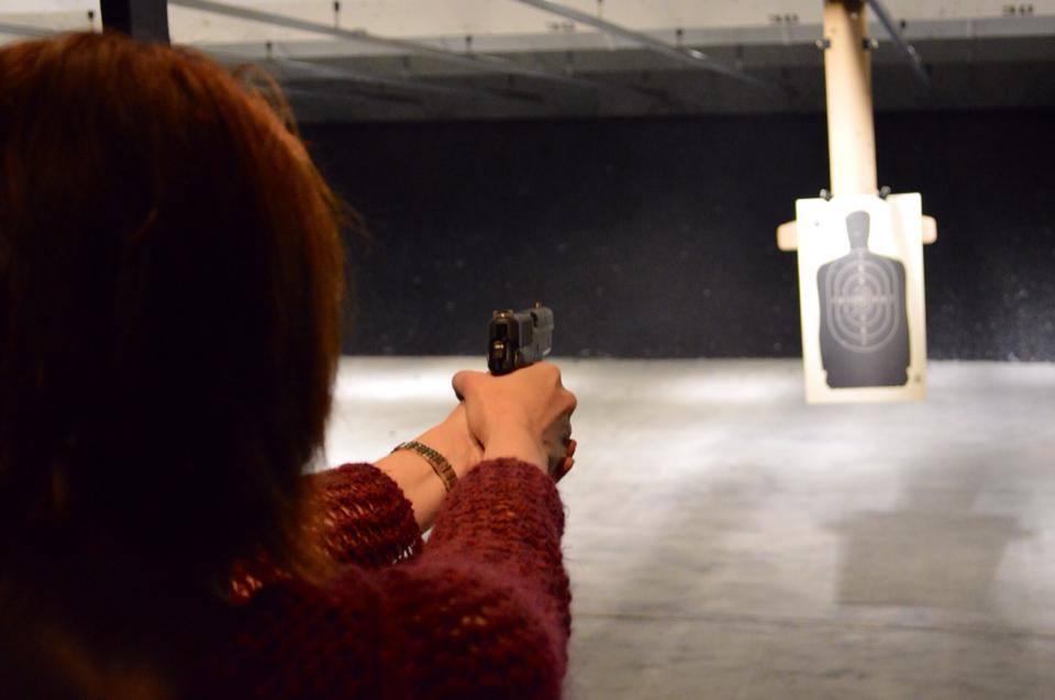 female teacher shooting gun