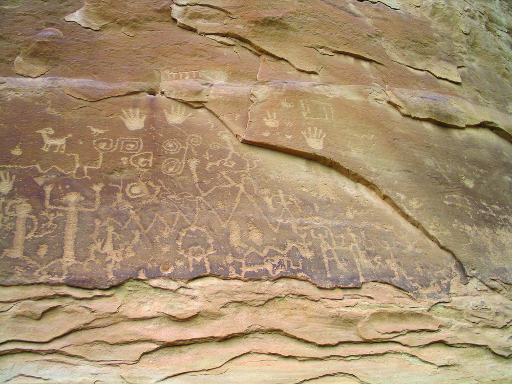 Petroglyphs are found on many cliff walls throughout the park.