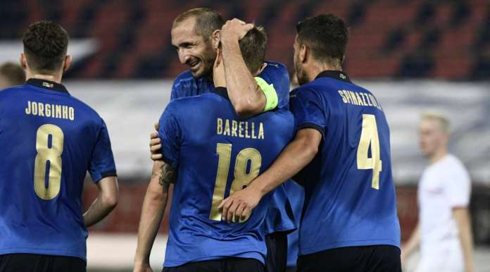 Nicolo Barella (Italy) picks it up in space and from the edge of the box lashes in a shot that is deflected past the helpless Jiri Pavlenka. 2:0.