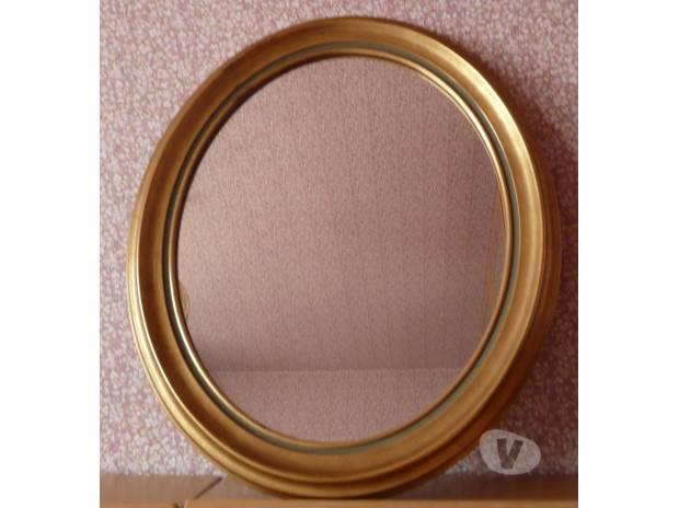 miroir ovale cadre bois dore meaux