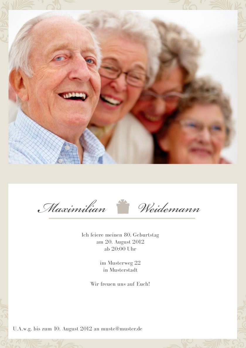 Einladung 80 Geburtstag Creme