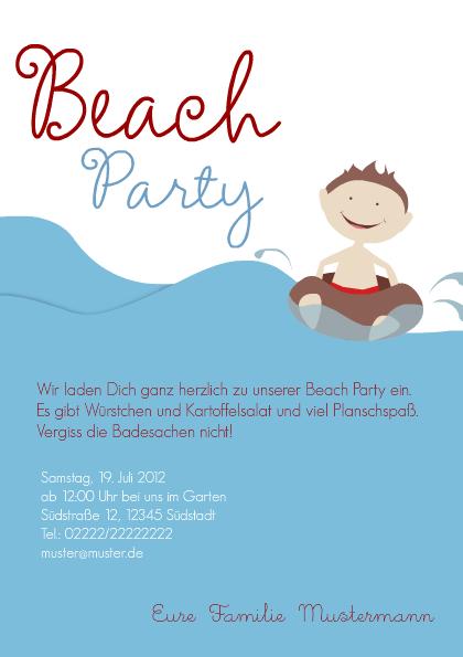 Einladungskarte Pool Party