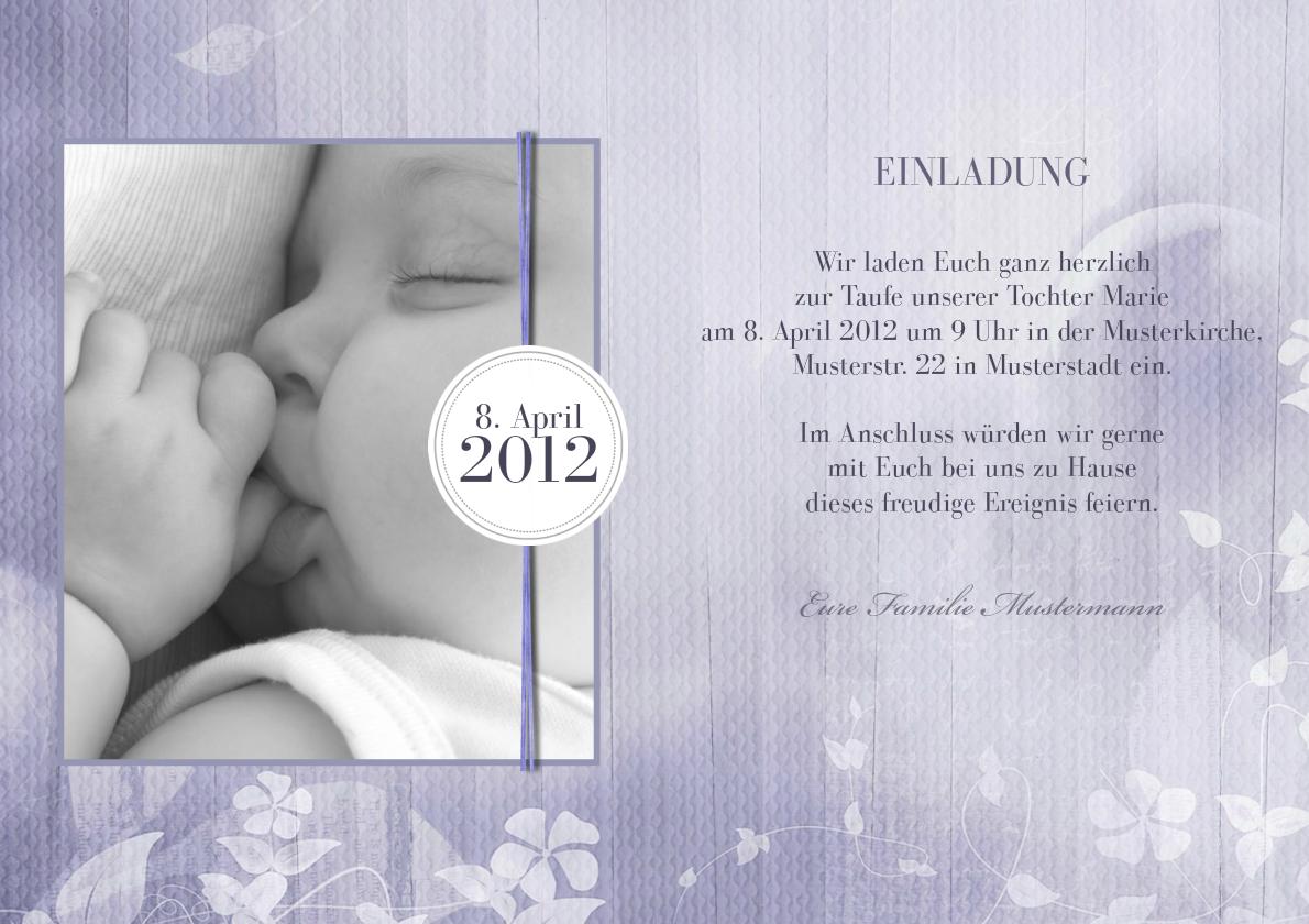 Einladung Taufe Iliana