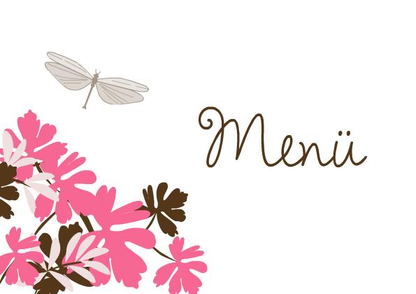 Menkarte Hochzeit Libelle Pink