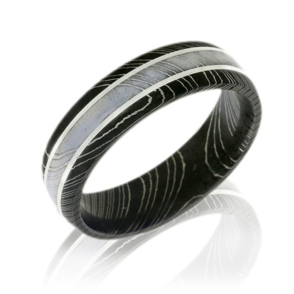 Lashbrook Damascus Steel Mens Band With Silver Inlay