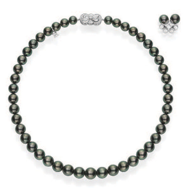 Mikimoto Ginza Black Pearl Necklace and Earrings Set