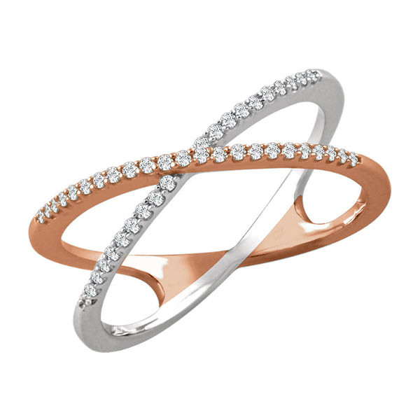 Mixed Metal Criss Cross Ring with Diamonds