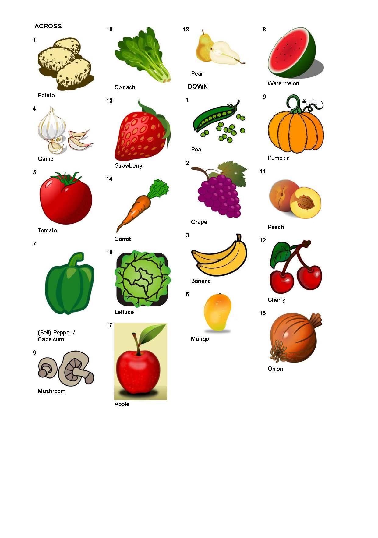 Fruit And Vegetable Vocabulary