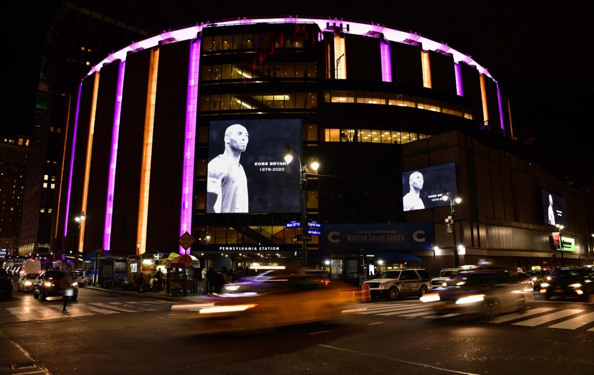 Madison Square Garden pays tribute to Kobe Bryant during Brooklyn Nets v New York Knicks game at Madison Square Garden on January 26, 2020 in New York City.  (Photo by James Devaney/Getty Images)