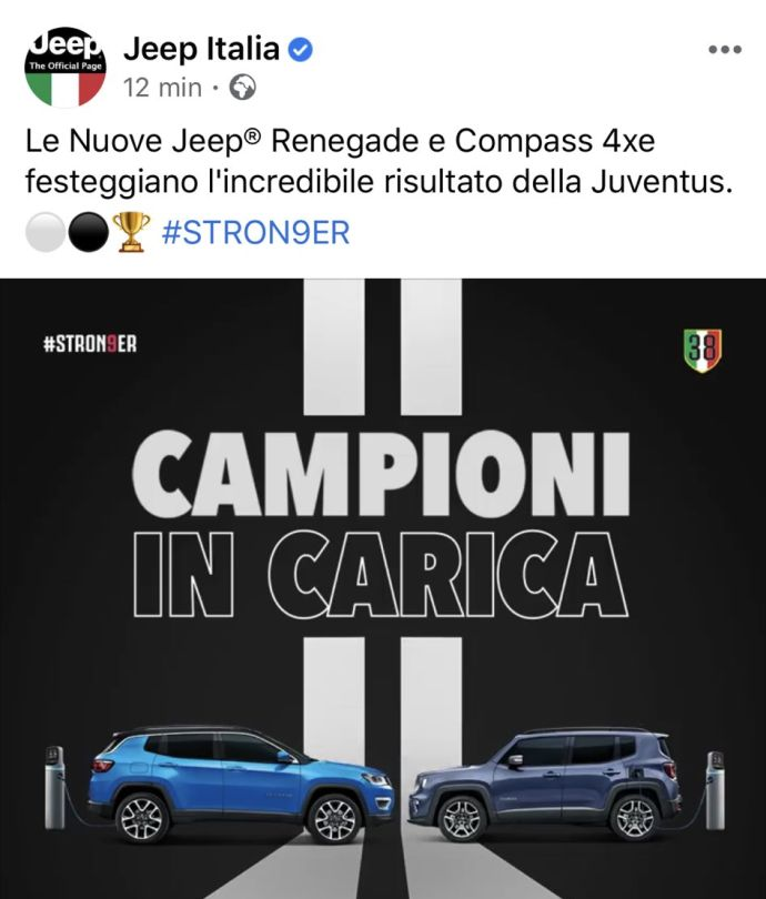 Jeep and the spoiler on the ninth league title of Juve: 'Champions in charge # Stron9er' PHOTO | A league 2