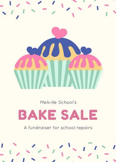 Sprinkles Border With Cupcakes Bake Sale Fundraising Flyer