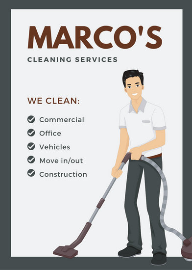 Gray And Brown Vacuum Cleaner Illustration Cleaning Flyer