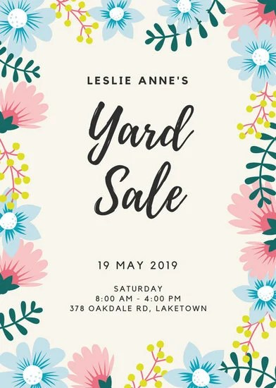 Cute Designs For Wallpapers Arrows Floral Border Yard Sale Flyer Templates By Canva