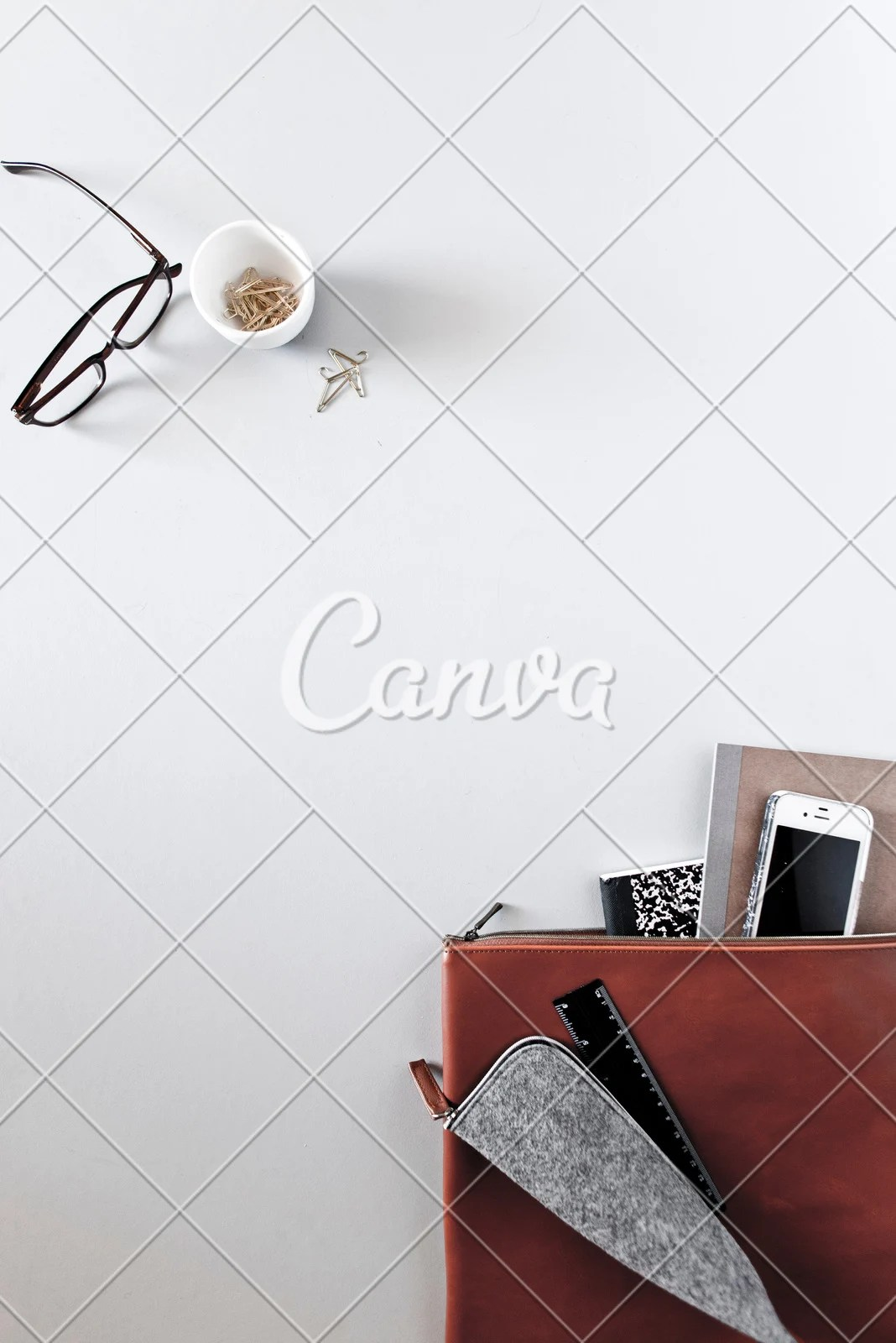 minimalist desk objects on