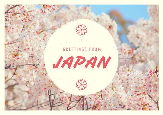 Coral Sakura Japan Travel Postcard Templates By Canva