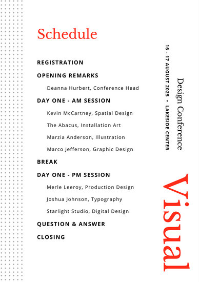 Modern Red Orange Typography Dots Event Program