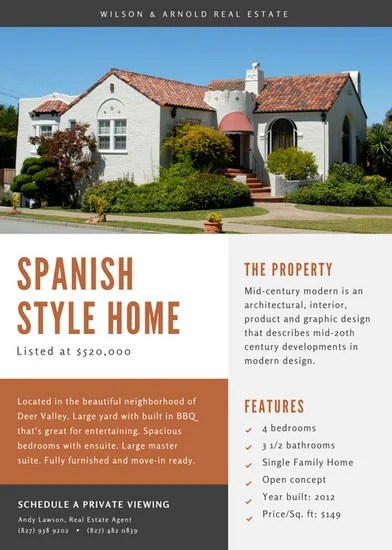 Spanish Style Home Real Estate Flyer Templates By Canva