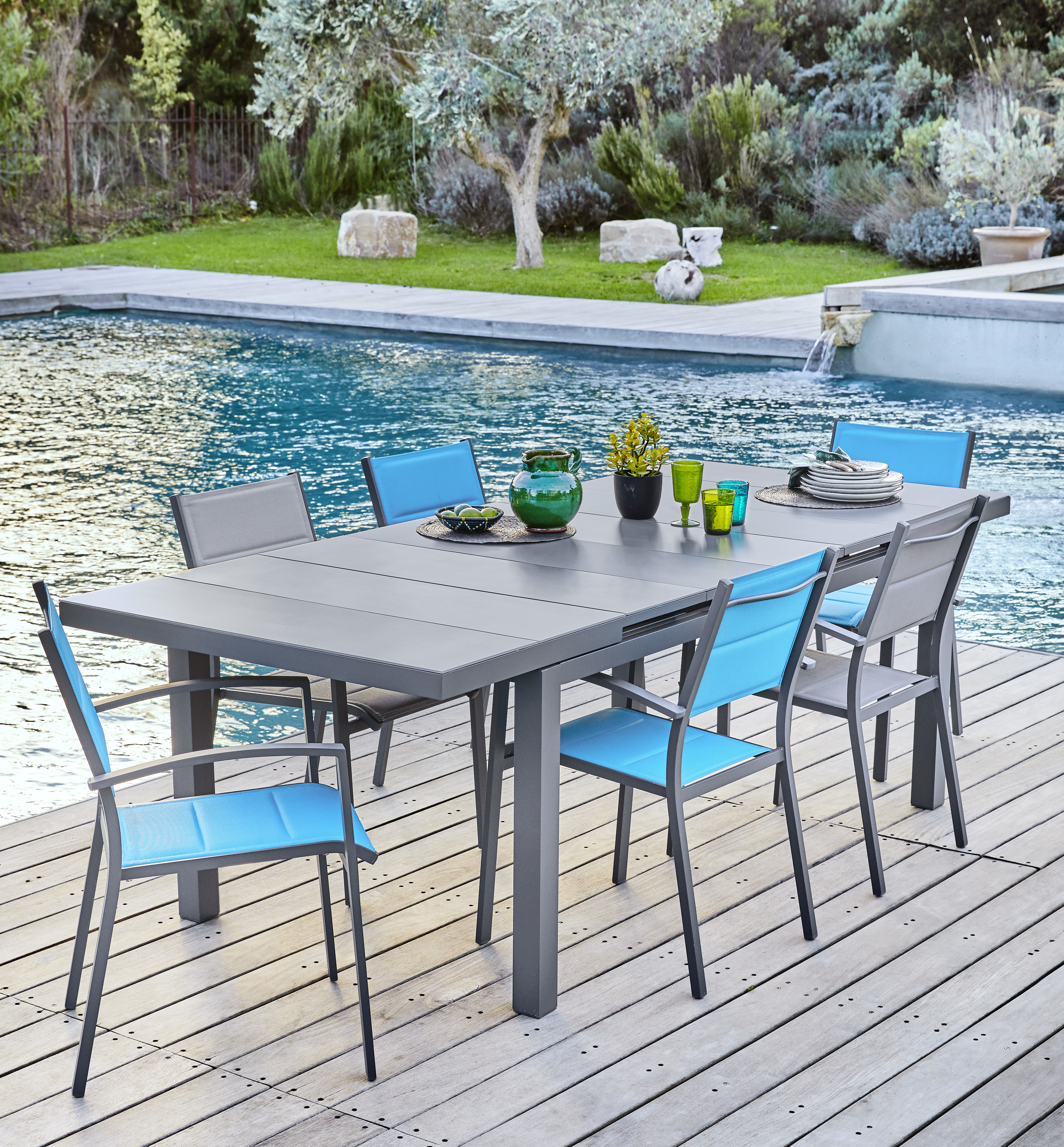 Table De Jardin En Teck Carrefour Hyba Table Canberra Allonge Automatique Gris 100cm X 180cm X