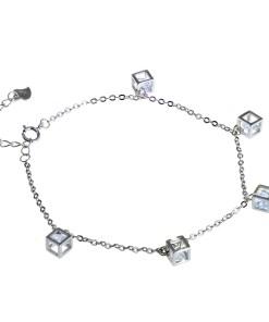 Bratara din argint 925, cu talismane cuburi si zirconii albe