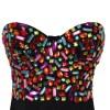 H244 Bustiera tip corset cu pietre colorate