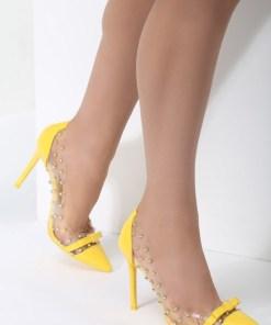 Pantofi stiletto Horizon Galbeni