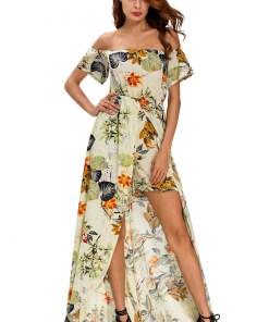 M475 Rochie maxi de vara, cu imprimeu floral, umerii goi si maneci scurte