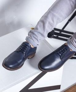 Pantofi barbati Piele Henrry bleaumarin casual