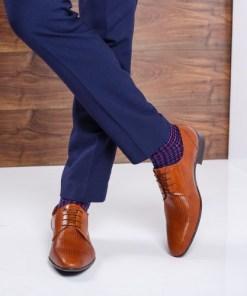 Pantofi barbati Piele Pavlo maro cu model elegant