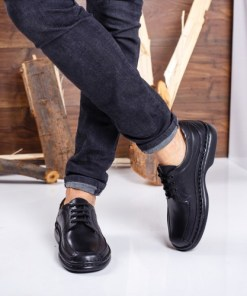 Pantofi barbati Piele Tapani negri casual