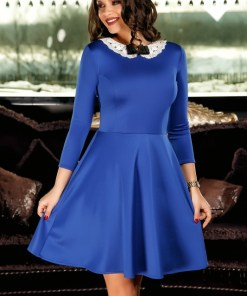 Rochie albastra in clos office cu guler elegant