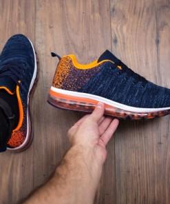 Pantofi sport Lucilius albastri cu portocaliu