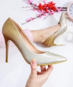 Pantofi Bedford galbeni cu argintiu cu toc