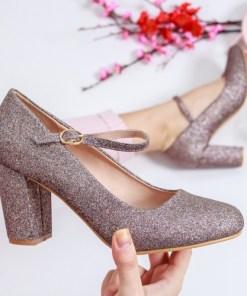 Pantofi Britaine roz cu toc
