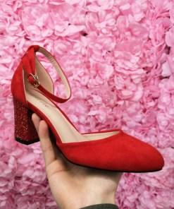 Pantofi Dapirami rosii cu toc