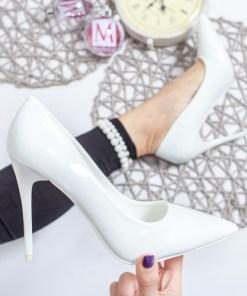 Pantofi Gasima albi cu toc