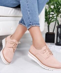 Pantofi Hamiga roz tip Oxford
