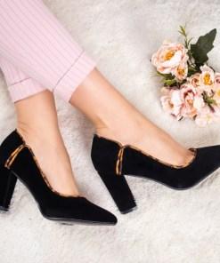Pantofi Helenus negri cu print si toc gros