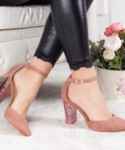 Pantofi Laliri roz cu toc