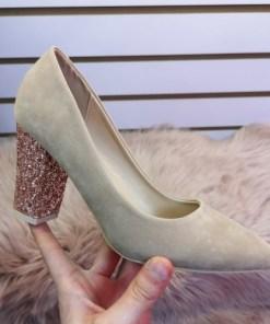 Pantofi Laudine bej cu toc
