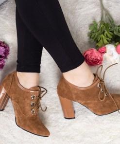 Pantofi Lucrami camel cu toc 19