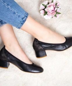 Pantofi Piele Ohara negri cu toc