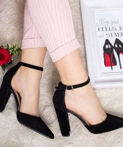 Pantofi Tamono negri cu toc