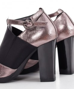 Pantofi Zahava gri cu toc